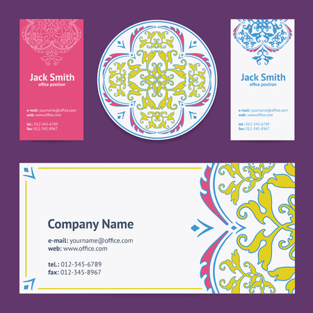 corporative: Corporative Business Cards Design Set and Envelope with Beer Mat with Turkish Ornament and Damask Pattern Background