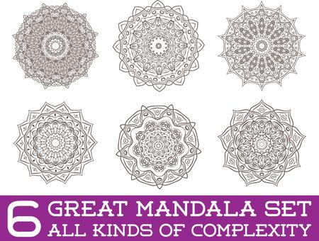 mandala tattoo: Set of Ethnic Fractal Mandala Vector Meditation Tattoo looks like Snowflake or Maya Aztec Pattern or Flower too Isolated on White