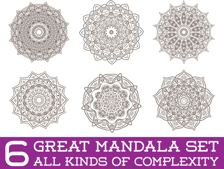 Set of Ethnic Fractal Mandala Vector Meditation Tattoo looks like Snowflake or Maya Aztec Pattern or Flower too Isolated on White