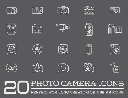 Ensemble de Photographie Elements Vector appareil photo et caméra vidéo Icônes Illustration
