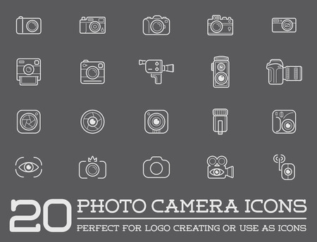 old camera: Set of Vector Photo Camera Photography Elements and Video Camera Icons Illustration