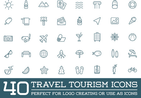 Set of Vector Travel Tourism and Holiday Elements Icons Illustration Illustration