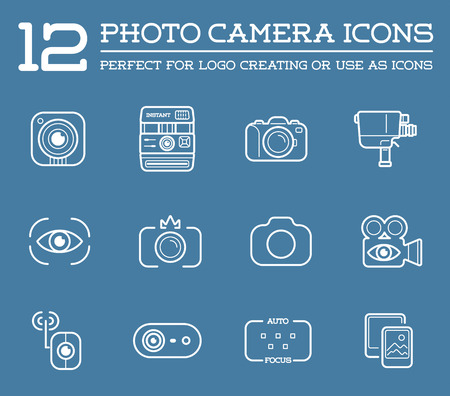 digital camera: Set of Vector Photo or Camera Elements and Video Camera Signs Illustration