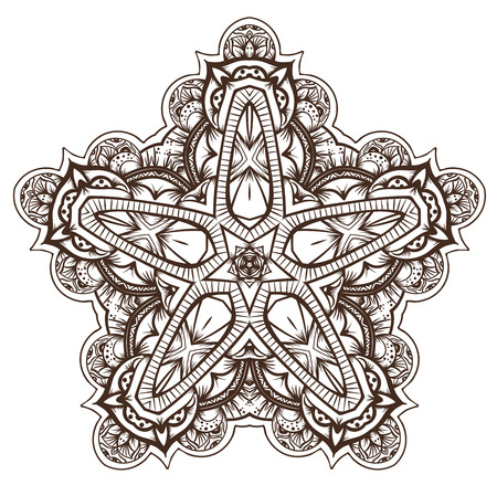 maya: Ethnic Fractal Mandala Vector Meditation looks like Snowflake or Maya Aztec Pattern or Flower too Isolated on White