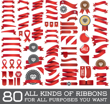 red ribbon bow: Big Set of Ribbons and Labels in Vector Retro and Vintage for All Purposes
