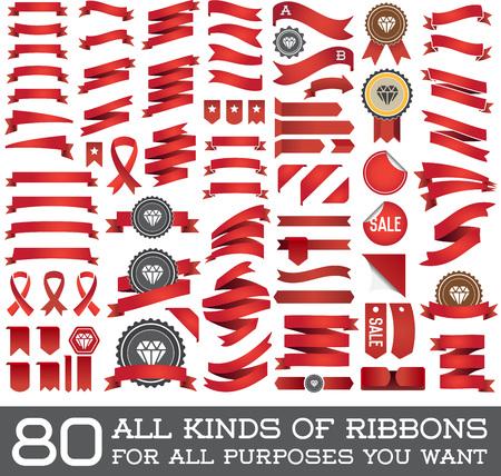Große Reihe von Farbbänder und Etiketten in Vektor-Retro und Vintage-für alle Zwecke