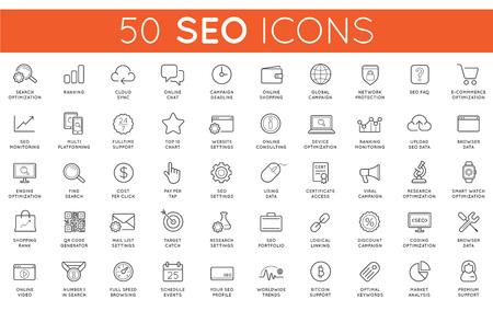 Ensemble de Vector SEO Search Engine Optimisation Éléments et icônes Illustration