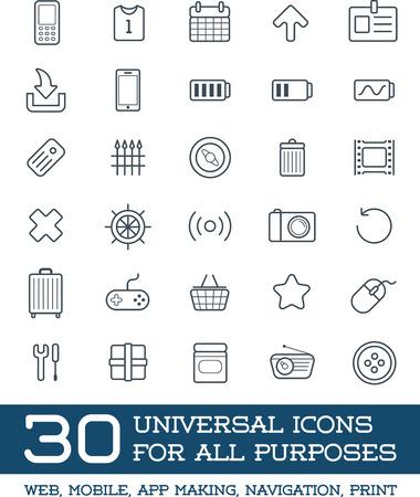 universal icons: 30 Universal Icons Set For All Purposes Web, Mobile, App Making, Navigation, Print