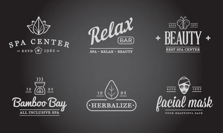 salon and spa: Set of Vector Spa Beauty Yoga Sport Elements Illustration