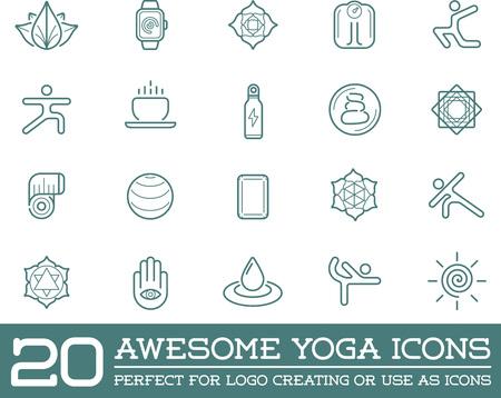 nirvana: Set of Vector Yoga Zen Sport Elements and Fitness Healthy Illustration