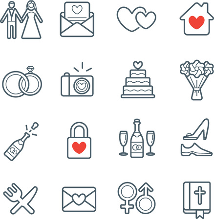 civil partnership: All Kinds of Wedding Marriage or Bridal Icons Set Vector