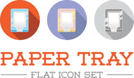 filing tray: Horizontal Trays for Paper in Flat Vector Icon Design Set Illustration