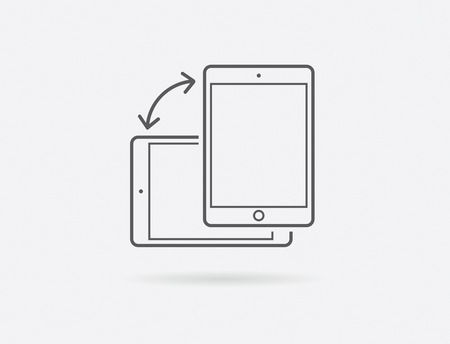 Rotate Smartphone or Cellular Phone or Tablet Icons in Vector Illustration