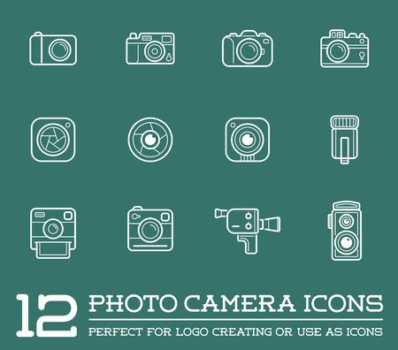 Set of Vector Photo or Camera Elements and Video Camera Signs Illustration