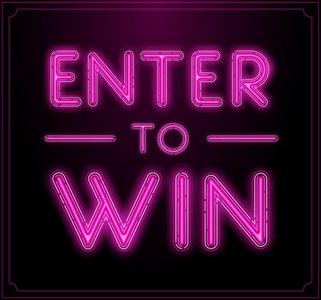 Geben Sie, um zu gewinnen Vektor-Zeichen, Win-Preis, Sieg in Lotterie Vektorgrafik