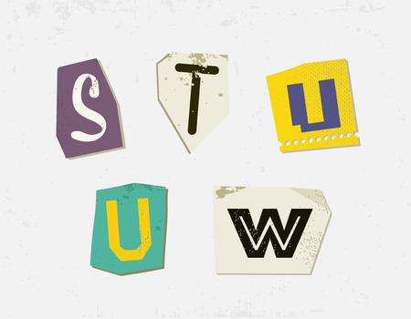 Colorful Newspaper Cut Letters Set Illustration