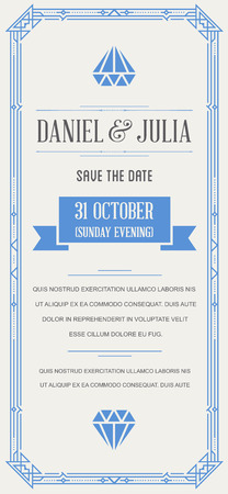 Great Quality Style Invitation in Art Deco or Nouveau Epoch 1920s Gangster Era Vector Illustration