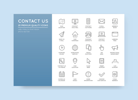 contact icon: Set of Contact us Service Elements and Assistance Support can be used as   Icon in premium quality Illustration