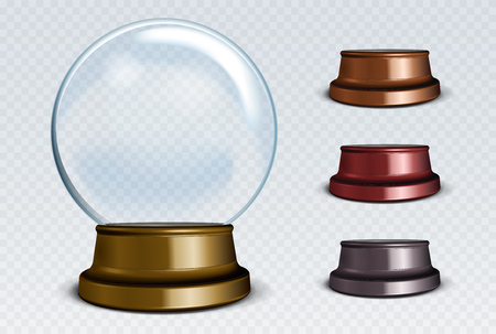 Vector Empty Snow Globe Set. White transparent glass sphere on a stand with glares and highlights.