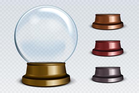 Wektor Pusty zestaw globu śniegu. Biała przejrzysta szklana kula na stojaku z spojrzeniami i głównymi atrakcjami.