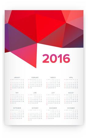 2016 Calendar. Abstract. Week Starts from Sunday. Vector illustration. Print Ready Illustration
