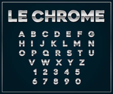metallic: Chrome Silver Metallic Font Set. Letters, Numbers in Vector