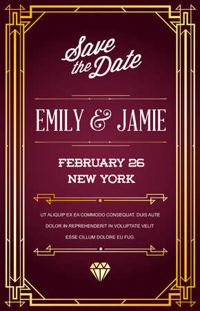 epoch: Great Quality Style Invitation in Art Deco or Nouveau Epoch 1920s Gangster Era Vector Illustration