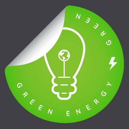 illustrated globe: Vector Green Energy Icon