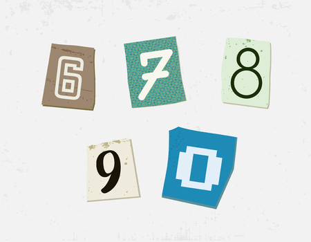 typesetter: Colorful Newspaper Cut Numbers Set Illustration