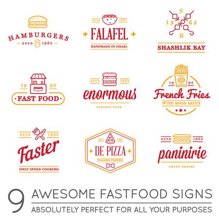 panini: Set of Vector Fastfood Fast Food Elements Icons and Equipment as Illustration can be used as Icon in premium quality with Fictitious Names
