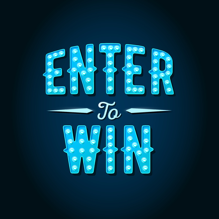 Enter to Win Vector Sign, Win Prize, Win in Lottery Vettoriali