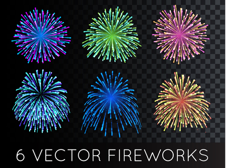 Vector Fireworks Set with transparency