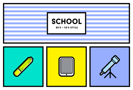 90s: Vector 80s or 90s Stylish School Education Icon Set with Retro Colors Illustration
