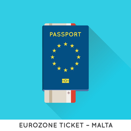 citizenship: Eurozone Europe Passport with tickets vector illustration. Air Tickets with EU National Flag.