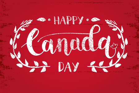 calligraphy pen: Happy Canada Day Hand Drawn Calligraphy Pen Brush Vector