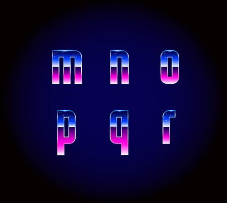 r p m: 80s Retro Futurism Sci-Fi Font Alphabet Vector Illustration