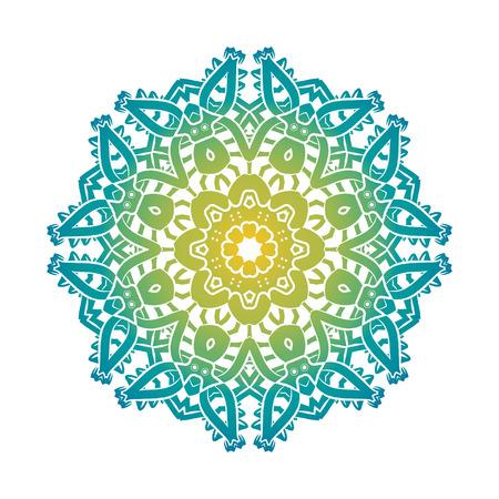 Ethnique psychédélique de fractale Mandala Vector méditation ressemble Snowflake