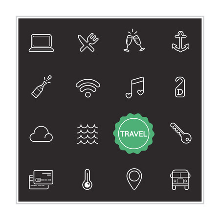 not lined: Set of Travel Holiday Vector Illustration Elements
