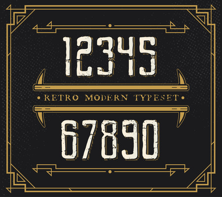 handcrafted: Vintage Retro Font. Handcrafted Decoration Font. Number from 0 to 9