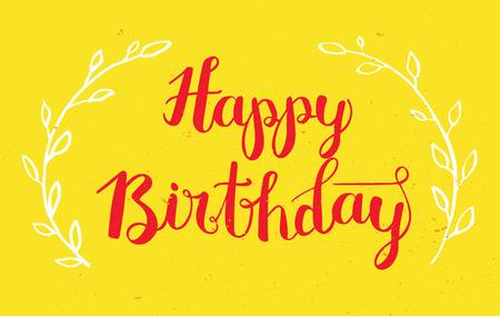 calligraphy pen: Happy Birthday Hand Drawn Calligraphy Pen Brush Vector Illustration