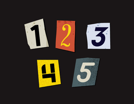 anonym: Colorful Newspaper Cut Numbers Set Illustration