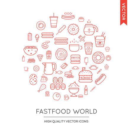 food industry: Vector Set of Fast Food Modern Flat Thin Icons Inscribed in Round Shape