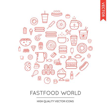 Vector Set van fast food Modern Flat Thin Icons Ingeschreven in ronde vorm
