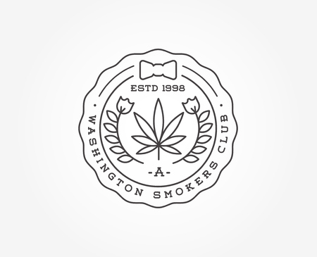 bong: Medical Cannabis Marijuana Sign or Label Template in Vector. Can be used as a Logotype.