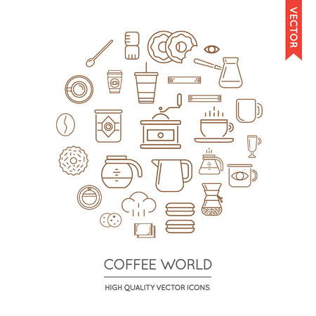 inscribed: Vector Set of Coffee Modern Flat Thin Icons Inscribed in Round Shape Illustration