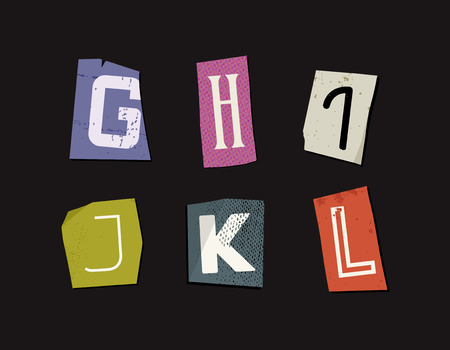 Colorful Newspaper Cut Letters Set Illustration