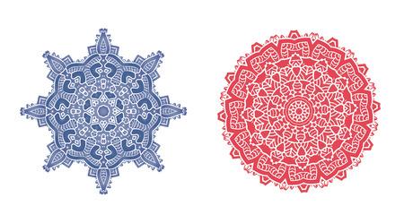 visionary: Ethnic Psychedelic Fractal Mandala Vector Meditation looks like Snowflake Set Illustration