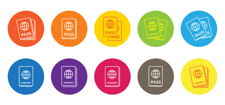 Set of Citizenship or Foreign Passport ID in Vector Colorful Icon
