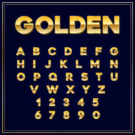 alphabetic: Alphabetic fonts Gold letter with numbers. Vector EPS10. Illustration