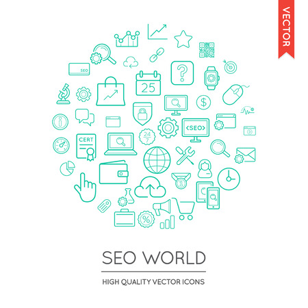 inscribed: Vector Set of SEO Modern Flat Thin Icons Inscribed in Round Shape